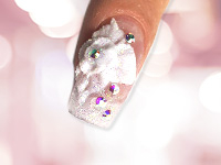 Nailart Blüten mit Acryl-Pulver