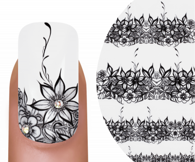 Emmi-Nail Watertattoo Black Flowers 1