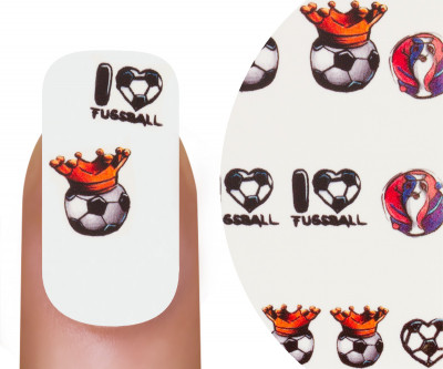 Emmi-Nail Watertattoo WM I Love Fußball Krone