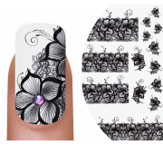 Emmi-Nail Nailsticker Black Flowers 4